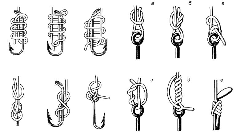 Каким узлом привязать крючок