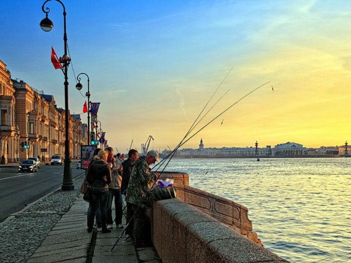 Рыбалка на Неве в черте города
